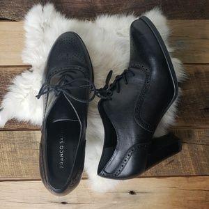 Franco Sarto Black Lace Up Heeled Saddle Shoes